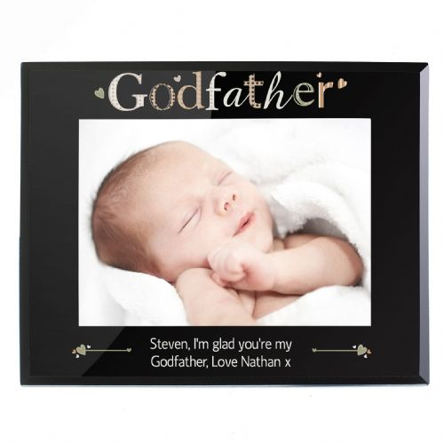 Personalised Godfather Black Glass 5x7 Frame